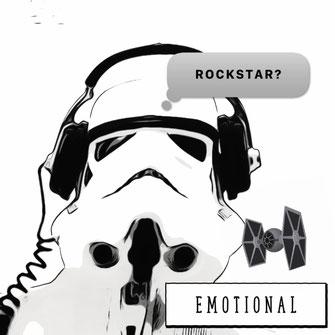 Comic Zeichnung Sturmtruppler will ein Rockstar sein.