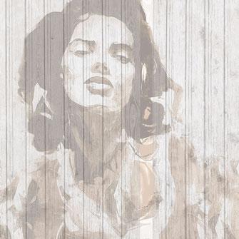 Frauenportrait gedruckt auf Holzbretter