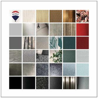 Marken Erscheinung in allen Fassetten. Farben Materialien, Strukturen, Formen, ... in einer Collage zusammengestellt.