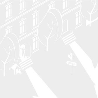 Weiterentwicklung einer Grafik für den Einsatz im Markenraum. Grafische Darstellung einer Häuserzeile mit Bäumen und einem OPEN Schild im Vorgarten