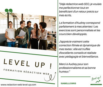 avis élève formation rédaction web level up