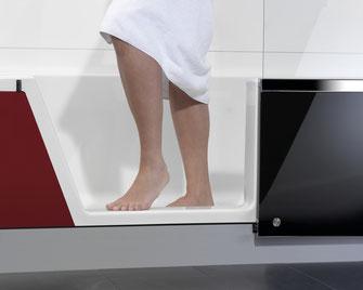 Easy-in - auf Knopfdruck von der Dusche zur Badewanne