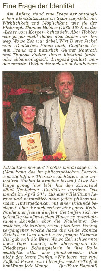 Referentin Monica Keichel als Kaiserin Sisi, WZ 17.05.2014, Text Jürgen Wagner, Foto: Eberhard Bogdoll