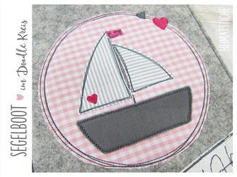Segelboot applikation  Stickdatei 10x10 Segelboot im Doodle Kreis mit Herzchen ...