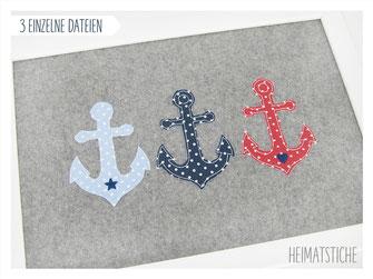 Stickdatei Stickmuster Embroidery Maschinensticken  Doodle Applikation Boot Segelboot Maritim Wellen Meer Fische Herz Stern auf hoher See Anker Ankerliebe Hamburg Herz Stern