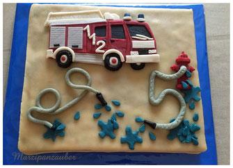 Tortendekoration Kindergeburtstag Feuerwehr Geburtstag Jungen, Marzipanzauber
