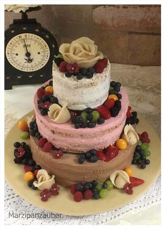 Naked Cake Hochzeitstorte Wedding Cake Früchte Marzipanzauber