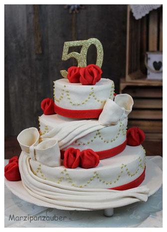 Hochzeitstorte, Wedding cake, Marzipanblüten, Marzipandecke weiss, Marzipanzauber