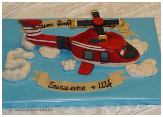 Kindergeburtstag Torte, kindergeburtstagstorte für jungs, Hubschrauber, Marzipan, Geburtstagstorte Kind, Geburtstagskuchen, Torte mit Marzipandekor