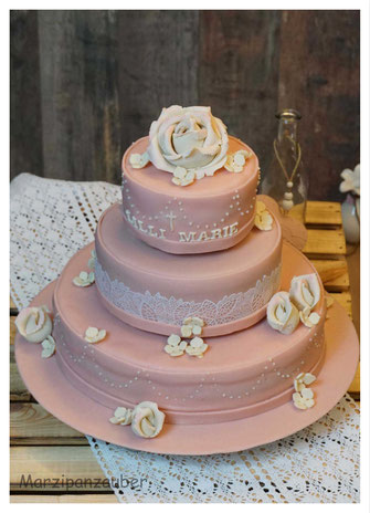 Hochzeitstorte rosa, Wedding cake, Zuckerspitze, Marzipanrosen, Marzipanblüten, Marzipanzauber