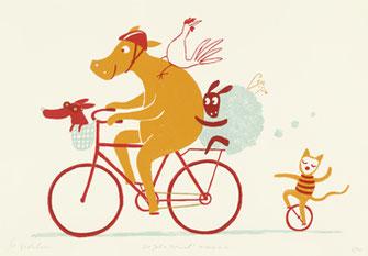 Miriam Zedelius: 100 Jahre Fahrrad (Siebdruck, 48 Euro)