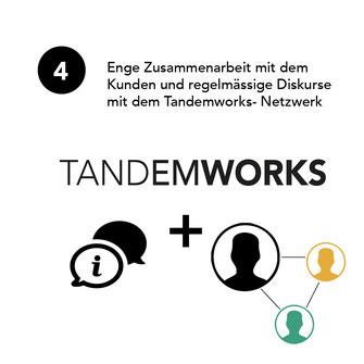 Enge Zusammenarbeit mit dem Kunden und regelmässige Diskurse mit dem Tandemworks-Netzwerk