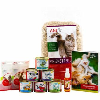 Katzenfutter-Kennenlern-Paket mit verschiedenen 200g Katzengerichten für die gesunde Ernährung von Katzen plus Katzenstreu zum ausprobieren.