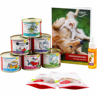 Katzenfutter-Kennenlern-Paket mit verschiedenen 200g Katzengerichten für die gesunde Ernährung von Katzen zum ausprobieren.