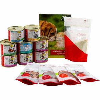 Hundefutter-Kennenlern-Paket mit verschiedenen 200g Hundegerichten für die gesunde Ernährung von Hunden zum ausprobieren.