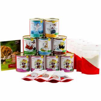 Hundefutter-Kennenlern-Paket mit verschiedenen 810g Hundegerichten für die gesunde Ernährung von Hunden zum ausprobieren.