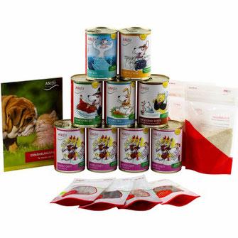 Hundefutter-Kennenlern-Paket mit verschiedenen 400g Hundegerichten für die gesunde Ernährung von Hunden zum ausprobieren.
