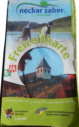 Freizeitkarte NeckarZaberTourismus 1:35.000. Auch in 2018 noch mit der topographischen Karte 2007