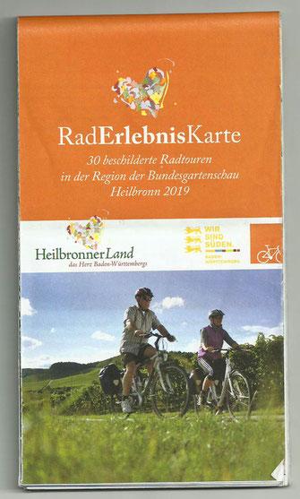 """RadErlebnisKarte mit beschilderten Radtouren in der Region """"Heilbronner Land"""" zur Bundesgartenschau 2019"""
