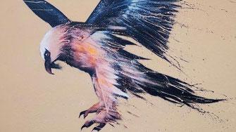 gypaete barbu art illustration graffiti peinture murale oiseau décoration murale extérieur intérieur graff artiste dessin painting savoie alpes rhones-alpes auvergne nature