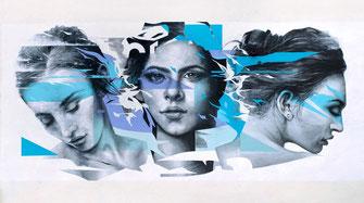 fresque artistique urbaine le MUR Vesoul streetart graffiti mural portrait artiste Graffmatt peinture murale art contemporain moderne design bleu association le m.u.r oberkampf