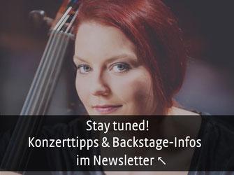 Cellistin und Komponistin Stefanie John am selbstgebauten 5 saitigen Cello, Empfehlungen und Kozert Tipps im Newsletter