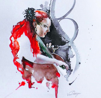 Die Berliner Cellistin Stefanie John in einer Aquarell-Zeichnung von Susanne van Rooyen - Rote Haare, eine Frau am Cello, elegante Verzierungen