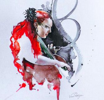 Die Berliner Cellistin Stefanie John in einer Aquarell-Zeichnung von Susann van Rooyen - Eine Frau mit roten Haaren spielt Cello, elegante Verzierungen