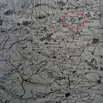 Le terrain de la bataille à l'Ouest de Lille, d'Arras à Ypres.(''l'Illustration - 20 avril 1918 - croquis-carte L. TRINQUIER)