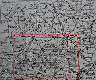 Carte du terrain de la bataille dans les Flandres       ''L'Illustration'' - 4 mai 1918-