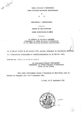 Lettre de félicitation du général commandant la 14e D.I.