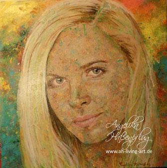 Angelika Haßenpflug, Living art, portrait, Gesicht, abstrakt, modern, acryl, painting, malerei, künstler, auftragsarbeit,