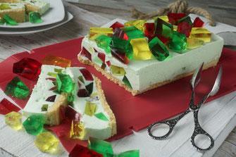 Bunter Wackelpudding-Nachtisch, Nachtisch, Torte, coox Wunderform, Rezepte, Rezeptideen, Wackelpudding, kochen, backen