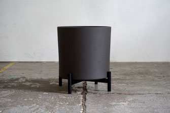 Mid Century Modern Design Planter Plant Stand Black Oak Matte Black