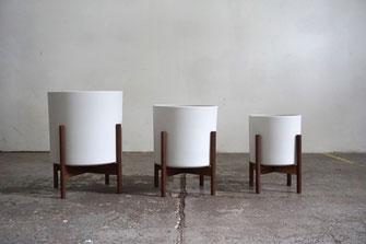 Mid Century Modern Design Planter Plant Stand Walnut White