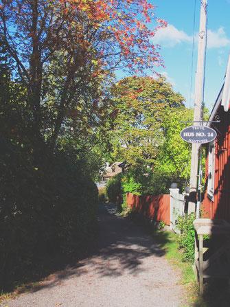 bigousteppes suède vaxholm automne feuilles mortes cabane maison bois rouge orange