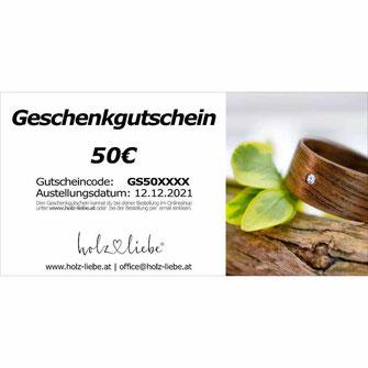 Geschenkgutschein exclusiver Holzschmuck, Holzringe Verlobungsring, Hochzeitsring, Trauring, Partnerring Ringschachtel Ringbox aus Karton www.holz-liebe.at