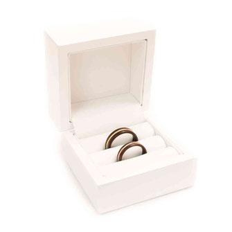 Ringetui Ringdose Hochzeitsringe, Eheringe hochglanz weiss