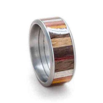 Edelstahlring buntes Holz, veschiedene Hölzer Hochzeitsring Verlobungsring, Ehering