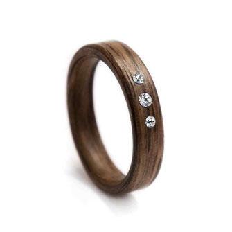 Eiche Holzring Swarovski Kristallen, Holzschmuck, Holzring, Hochzeitsring, Partnerring, Trauring