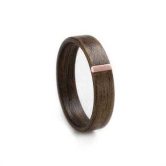 Nuss mit Kupfer-Inlay, Holzschmuck, Holzring, Hochzeitsring, Partnerring, Trauring, www.holz-liebe.at/shop/ringe