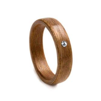Kirsch mit Swarovski Kristall, Holzschmuck, Holzring, Hochzeitsring, Partnerring, Trauring, www.holz-liebe.at/shop/ringe