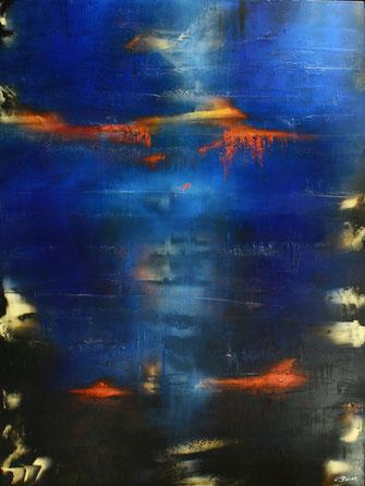 Carole Bécam - Artiste peintre - Série Energie - Bleu sur outremer