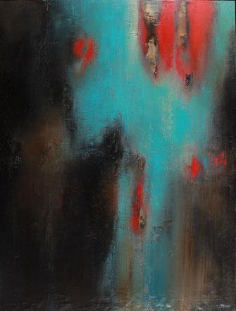 Carole Bécam - Artiste peintre - Série Energie - Bleu turquoise