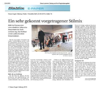 Neue Zuger Zeitung, 22.6.2015