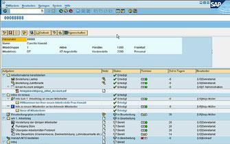 Screenshot aus SAP mit einer Checkliste für den Prozess eines neuen Mitarbeiters
