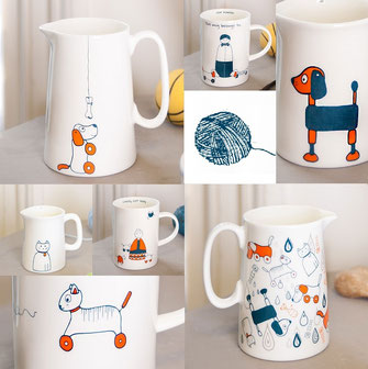 Helen Russell retro inspired Cats & Dogs homeware
