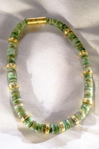 Kette, Andenopal, 925 /-Silber, 750 /- Gelbgoldvergoldung