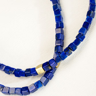 Halskette von Urte Hauck, Hemmingen. Lapislazuli, 750/-Gelbgold