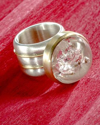 Ring/ Doppelquarz / 750/-Gelbgold  / 925/-Silber